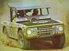 Bill Stoppe Navigating and Parnelli Jones at the wheel of the Olympia Beer Sponsored Baja Bronco