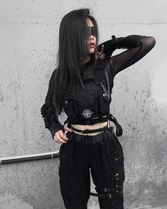 Dope or Nope? 🙏🏻🖤 😷 - - Model Outfit by - - - Kpop Outfits, Edgy Outfits, Mode Outfits, Grunge Outfits, Girl Outfits, Fashion Outfits, Mode Swag, Mode Emo, Vetement Fashion