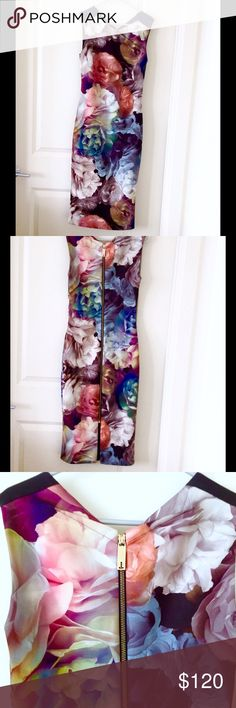 Ted Baker technicolor bloom dress Size 4 (ted 1) Beautiful technicolor bloom dress by ted baker. Labelled a ted size 1, which is equivalent to a US 4. 43 inches in length- bottom of dress sits just below the knee. Tags have been cut off to prevent store returns (as in fourth pic). Absolutely stunning!! Ted Baker Dresses