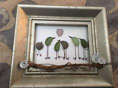 Pebble Art, Sea Glass art, Unique Gift, Colorful Sea Glass Birds, Sea Glass Heart, sea glass art, customized art, repurposed art, graduation
