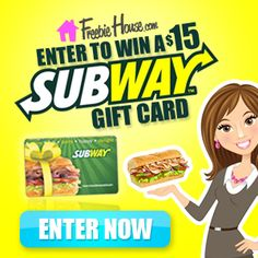 Win a $15 Subway Gift Card from FreebieHouse.com Subway Bread, Subway Art, Subway Tile, Subway Gift Card, Subway Nutrition, Subway Series, Gift Card Deals