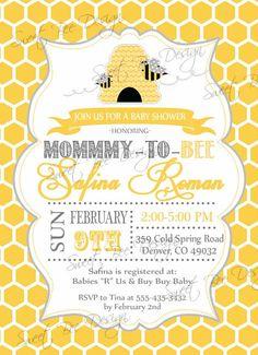 Bee Baby Shower InviteDigital DesignMama to Bee Pinterest Baby
