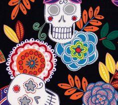 NEW Day of the Dead Jardin De Los Muertos 1 Yard by TheCraftyTree, $9.50
