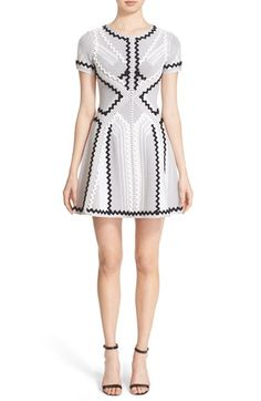 Herve Leger 'Morena' Zigzag Appliqué Pointelle Knit Fit & Flare Dress $1,193.98  #BestReviews #fashionclothing #DesigerClothing