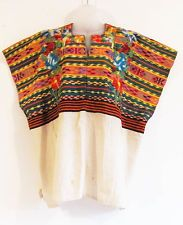 Vintage Festive Handwoven Cotton Mayan Guatemalan Embroidered Huipil - Patzun