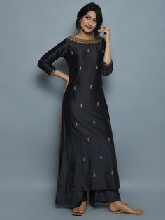 Charcoal Grey Chanderi Hand Embroidered Kurta and Palazzo - Set of 2