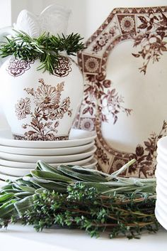 brown & white elegant transferware~@ blog they got whole set at Home Goods!~~got to got to go there!