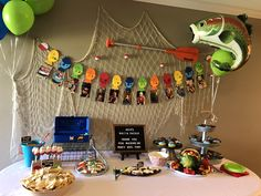 The charming Fishing Birthday Party Food Table Boys First Birthday Party Ideas, First Birthday Pictures, First Birthday Decorations, Baby Boy 1st Birthday, Boy Birthday Parties, 13th Birthday, Birthday Photos, Birthday Cake, First Birthdays