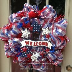SALE - 10 off coupon -  Welcome Patriotic Wreath, USA, July 4th, Red White Blue Mesh Wreath, Deco Mesh, American Wreath