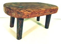 Antique Foot Stool Rustic Primitive Wood Cricket by Mainetrader