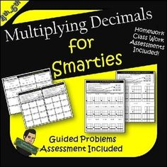 This is a great resource for reinforcing the concept of decimal placement while multiplying with decimals. There are 24 assignments which spiral in complexity with assessments at the end. Each page has step by step instructions along with a problem to guide the students for independent practice. Class Work and Homework Included!