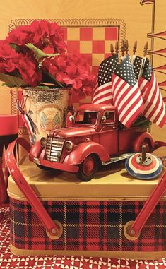 Vintage Trucks Vintage plaid tin picnic basket with red truck filled with flags for fun Fourth of July patriotic decor Fourth Of July Decor, 4th Of July Decorations, 4th Of July Party, July 4th, Holiday Decorations, House Decorations, Christmas Truck, Red Christmas, Christmas Scenes