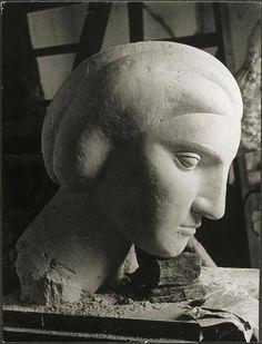 "Pablo Picasso, ""Woman's head"" (Marie-Thérèse), 1932. Photograph taken at Picasso's sculpture workshop in Boisgeloup."
