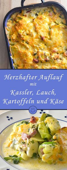 Kassler-Auflauf mit Lauch und Kartoffeln Kassler casserole with leeks and potatoes Boil potatoes for Smoked Potatoes, Smoked Pork, Boil Potatoes, Pork Recipes, Healthy Recipes, How To Cook Potatoes, Different Recipes, Vegetable Dishes, Clean Eating Recipes