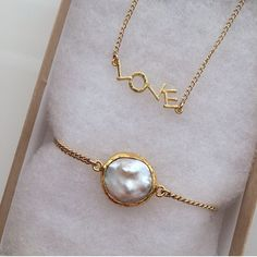 Love Necklace and Mother of Pearls Bracelet by Long Lost Jewelry