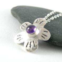 Amethyst Silver Necklace Sterling Silver Necklace by EfratJewelry, $62.00
