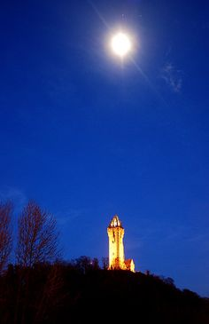 Moonlight over the Wallace Monument at night, Stirling
