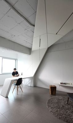 leibal_housewing_anlstudio_3 House Wing is a minimalist home located in Seoul, Korea, designed by AnLstudio + Heebon. The space is renovated for a client who is an artist