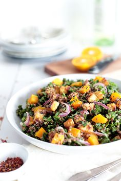 Quinoa, Pumpkin and Kale Salad with Tempeh • Green Evi