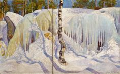 Pekka Halonen – Rock Covered in Ice and Snow 1911 (oil) (from On the Shores of the Lake Neda Ateneum Art Museum, Helsinki) Unicef Cards, Crystal Kingdom, Rock Cover, Snow Art, Post Impressionism, Impressionist Paintings, Les Oeuvres, Finland, Museum