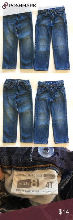 Crazy 8 old navy jeans bundle Both in very good condition. Son went through a growth spurt shortly after I bought these. No stains or wear on knees (fading/distress  is part of the design). Add this to a bundle to save 15%. Old Navy Bottoms Jeans