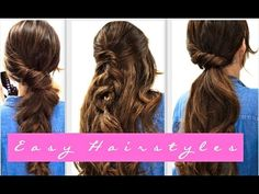 4 EASY Lazy HAIRSTYLES for FALL | Everyday Hairstyle for Medium + LONG HAIR - YouTube