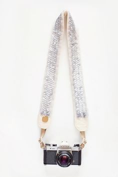 Glam silver sequined camera strap.  Follow us on #facebook:  https://www.facebook.com/westfieldsanfranciscocentre