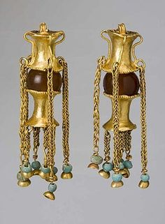 Pair of Pendants. Late 1st  early 2nd century A.D. Gold, sard, glass, glass paste. On the site it was stated as pendants, but I think it have been earrings.