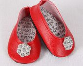 American Girl Doll Shoes – Handmade Modern Ballet Flats, Red with Rhinestone Embellishments