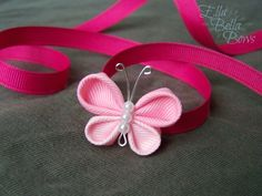 Items similar to Kanzashi Butterfly Ribbon Sculpture Hair Clip, bug hair bow on Etsy - Her Crochet Ribbon Art, Diy Ribbon, Ribbon Crafts, Ribbon Bows, Diy Hair Bows, Bow Hair Clips, Flower Hair Clips, Kanzashi Tutorial, Fabric Flower Brooch