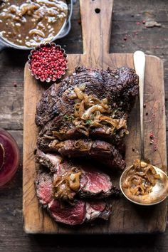 Roasted Beef Tenderloin with French Onion Au Jus: savory, decadent, buttery, and so full of flavor...perfect for a very special night. @halfbakedharvest.com