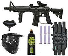 Tippmann US Army Alpha Elite Paintball Marker Gun 3Skull Package Set
