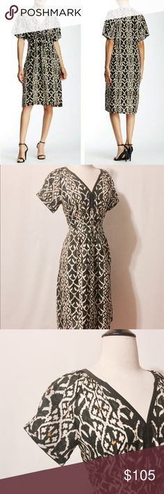 """⭐️ Acrobat Silk Ikat Print Midi Dress Lightweight silk. Cap sleeves, pleated bodice, hook and eye closure, solid framing around neckline. Pull on style, elastic at center back for shaping. 100% Silk Dry Clean Only 38"""" Bust 31"""" Waist 44"""" Hips 56"""" Sweep 40"""" Overall length Acrobat Dresses Midi"""