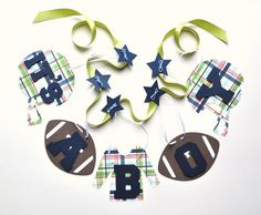 Football baby shower decorations blue and green it's a boy banner by ParkersPrints on Etsy