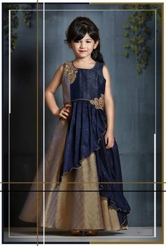 Latest Kids Gown Dress Children Wear Indian Kids Frock Beige Blue Gown For Girls Gowns For Girls, Dresses Kids Girl, Kids Outfits, Kids Indian Wear, Indian Ethnic Wear, Indian Blue, Ethnic Gown, Kids Party Wear Dresses, Kids Gown