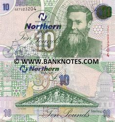 "Northern Ireland 10 Pounds 2005  Front: Veterinary surgeon John Boyd Dunlop (1840-1921) who invented a pneumatic tyre; Bicycle; Back: (Portico of) Belfast City Hall; Watermark: Portrait of John Boyd Dunlop; Word ""Ten""."