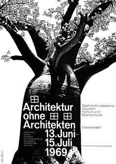 Breker (Walter, DE) 1969 Architektur ohne Architekten Kunstakademie Düsseldorf Plakat
