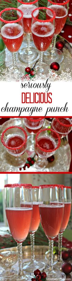 OMG!!!!! This Champagne Punch recipe is easy to make, beautiful and a total crowd pleaser! It's a perfect holiday cocktail and easy to make large quantities. Make alot because your guests will want more than one glass! TablerPartyofTwo.com