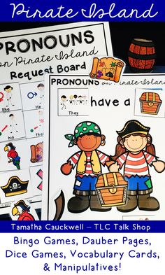 Target prepositions and pronouns using a fun Pirate theme! This pack includes several activities for the speech room and low ink pages that can be sent home as homework! Pirate Activities, Speech Therapy Activities, Speech Language Pathology, Language Activities, Speech And Language, Pirate Day, Pirate Theme, Pirate Island, Receptive Language