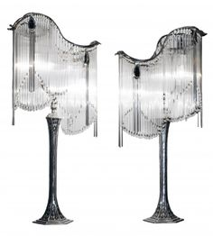 PAIR FRENCH ART NOUVEAU STYLE BRONZE & CRYSTAL LAMPS : Lot 294