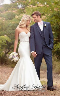 Essense of Australia #D2202 - Fit and flare strapless mikado wedding gown with lae bodice and detachable beaded belt.