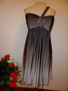 New XSCAPE Dark Light Gray Matte Jersey Shiffon Party Dress with stones Size 14