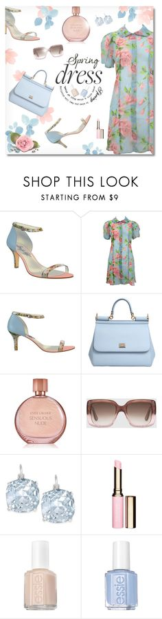 """""""Sweet Spring Dresses"""" by truthjc ❤ liked on Polyvore featuring Shoes of Prey, Betsey Johnson, Dolce&Gabbana, Estée Lauder, Gucci, Kate Spade, Clarins, Essie and springdress"""