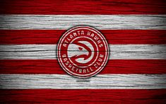 Download wallpapers 4k, Atlanta Hawks, NBA, wooden texture, basketball, Eastern Conference, USA, emblem, basketball club, Atlanta Hawks logo