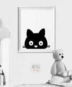 Cat Nursery print, Animal art print, wall art, Peekaboo animal, Minimal, Black and White, Kids room, Poster, Nursery Decor, ArtFilesVicky