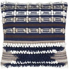 Gurley Hand Woven Geometric Poly or Feather Down Throw Pillow (Polyester), Blue(Cotton, Textured)