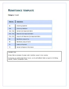 top 5 free remittance templates word templates excel mandegar info