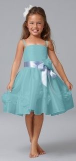 Seahorse Style 49729 Flower Girl Dress in Aquamarine #celebstylewed