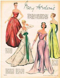 AUSTRALIAN  Vintage Fashion Art 1954 Original DIOR GIVENCHY JACQUES FATH  PARIS