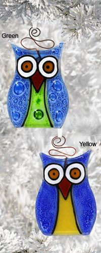 Bright Eyes Owl Recycled Glass Suncatcher Ornament at The Child Health Site